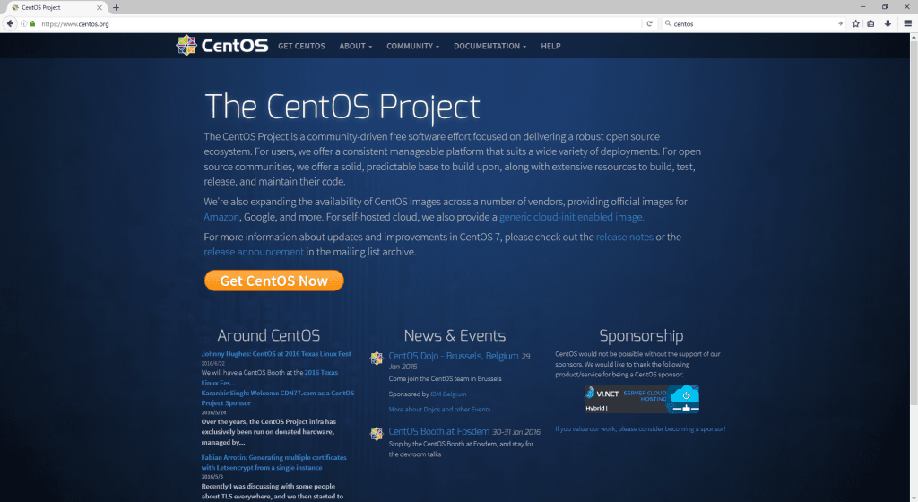 CentOS homepage