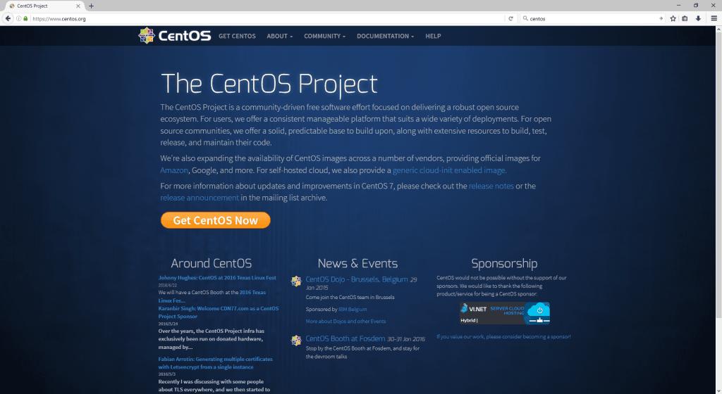 CentOS homepage