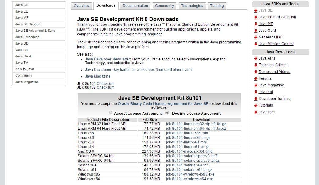 JDKダウンロードページ